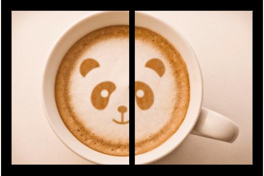 Картина из 2 частей Кофе панда